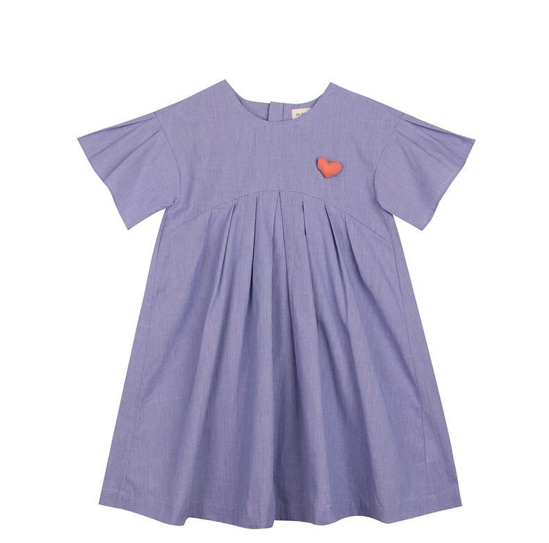 2020夏装新款图案褶裥拼接短袖连衣裙