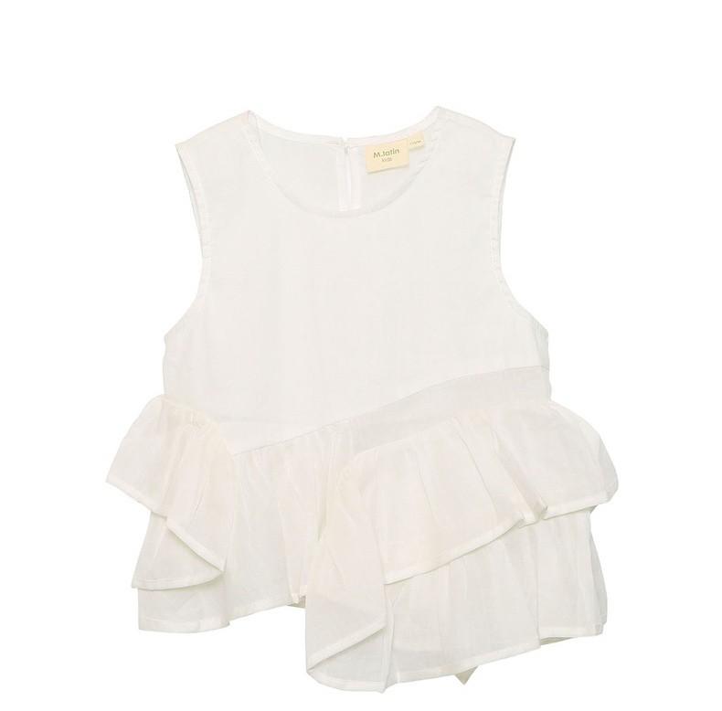 夏装新款设计感荷叶边娃娃衫白色无袖衬衫