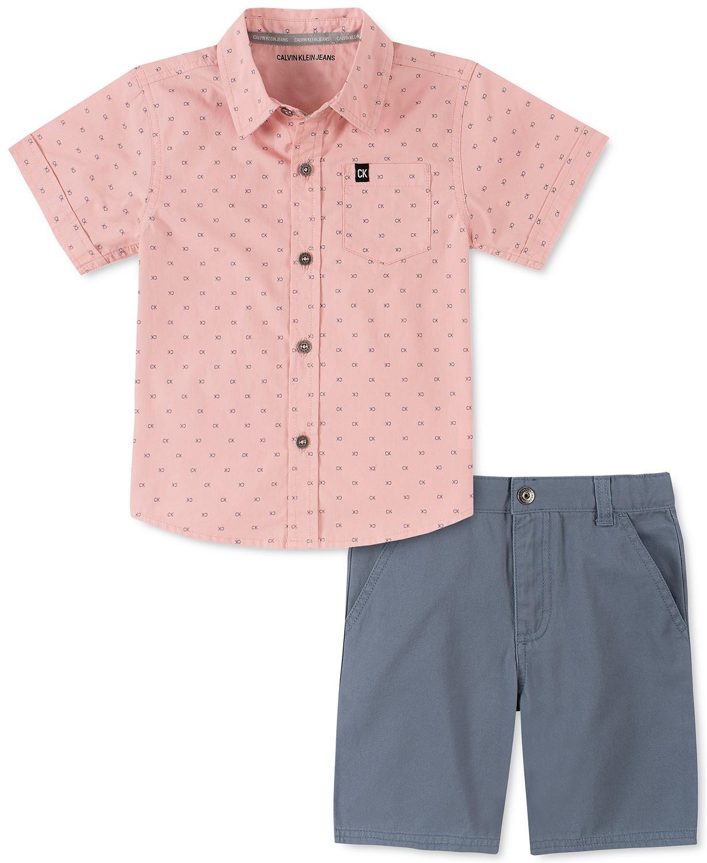 小男孩2件套标志印花府绸衬衫和斜纹短裤套