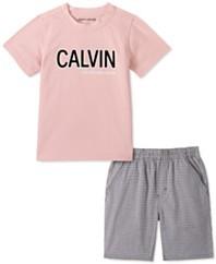 幼童男孩2件标志T恤和格子斜纹短裤套装
