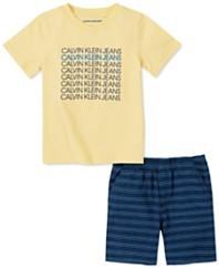 男孩2件套标志V领T恤色织条纹提花裤套装