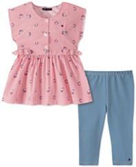 幼童女孩2件套条纹花朵束腰裤和紧身裤套装