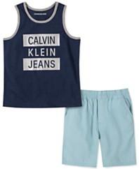 牛仔男孩2件标志背心和府绸短裤套装