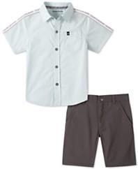 男童带府绸衬衫和猎犬纹斜纹短套装