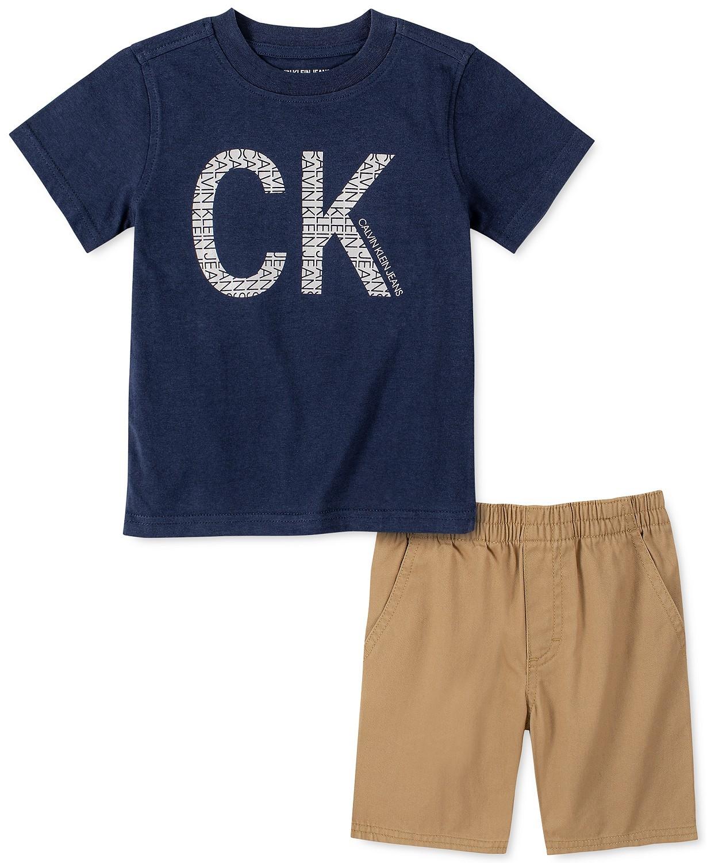 男童2件Logo T恤和斜纹短裤套装