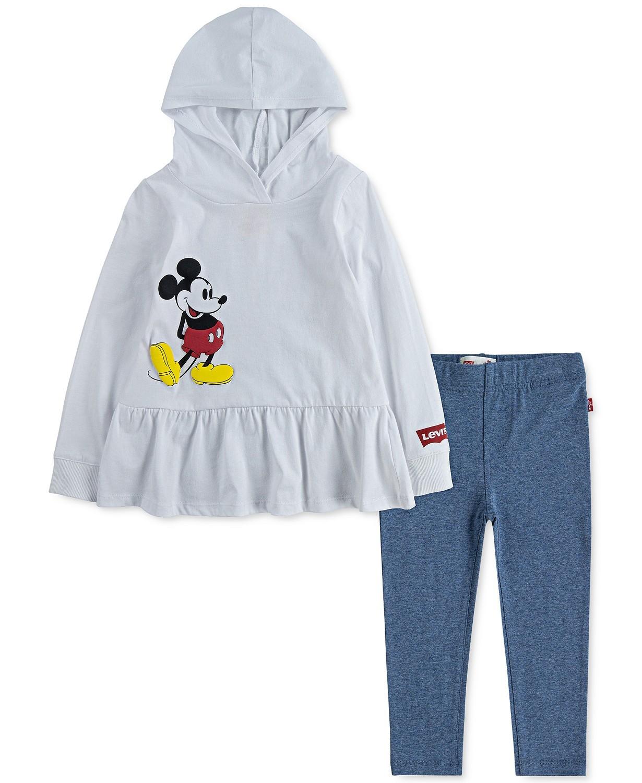 2件装女孩米奇老鼠连帽衫和紧身裤