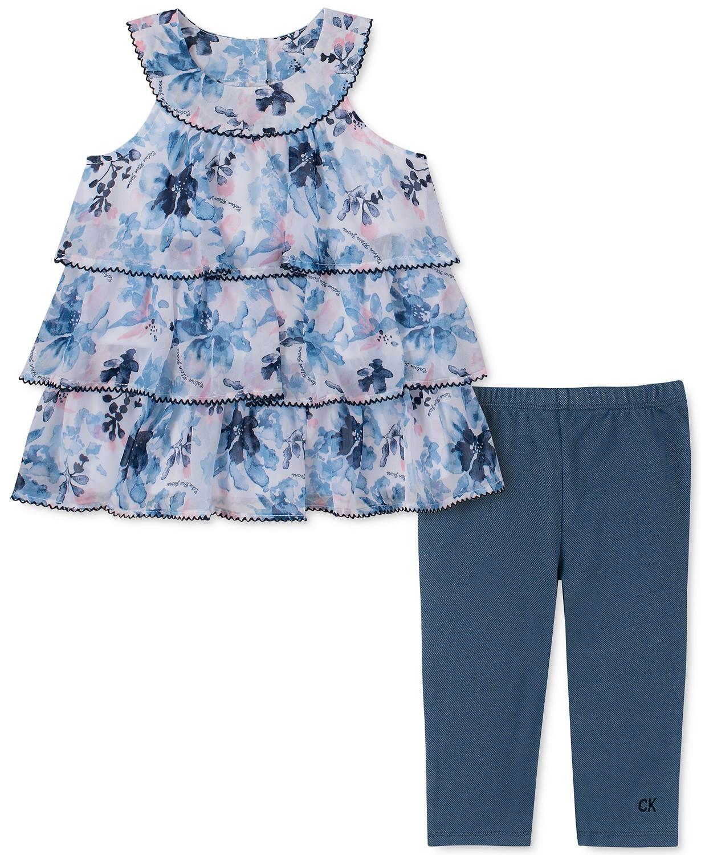 小女孩2-P c.分层花朵束腰束腰裤套装