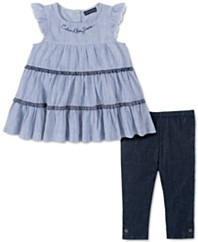 女孩2件套条纹束腰束腰裤