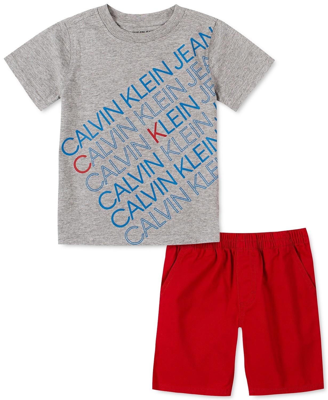 小男孩2件Logo T恤和斜纹短裤套装