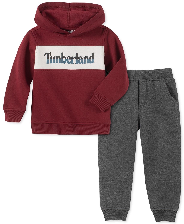 男孩拼色羊毛标志运动衫和运动裤套装
