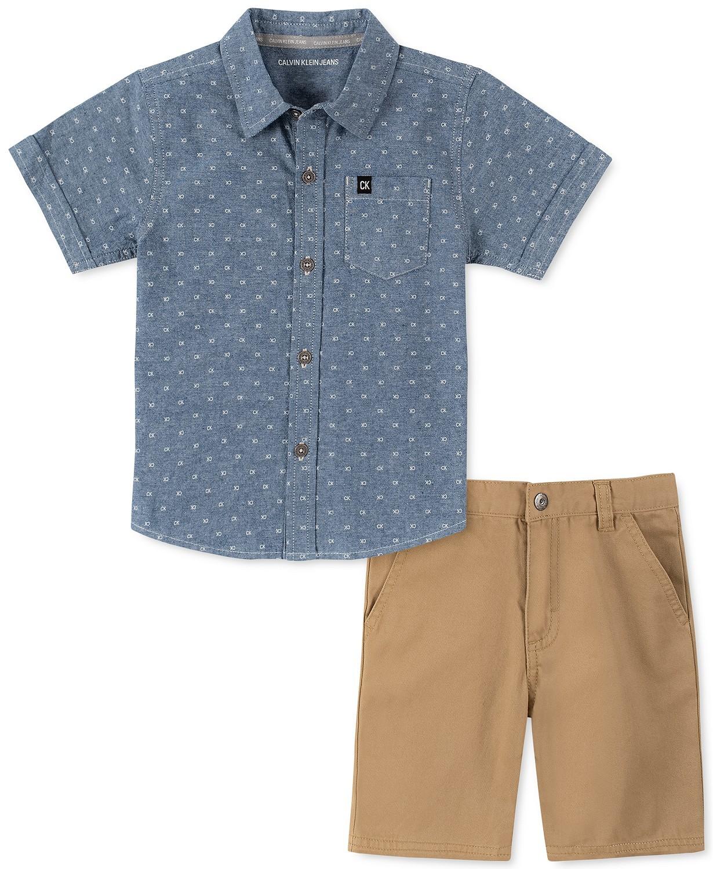 小男孩LOGO印花绒布衬衫和斜纹短裤套装