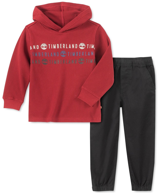 男孩商标印花保暖针织连帽T恤和斜纹裤套装