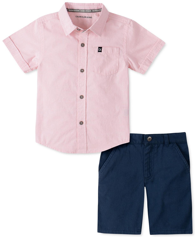 男孩2件套端对端条纹衬衫和斜纹短裤套装