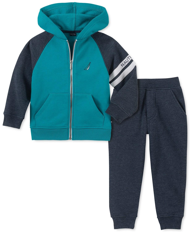 男孩拼色全拉链羊绒标志连帽衫裤子套装