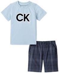 男孩2件LogoT恤和色织格子短裤套装