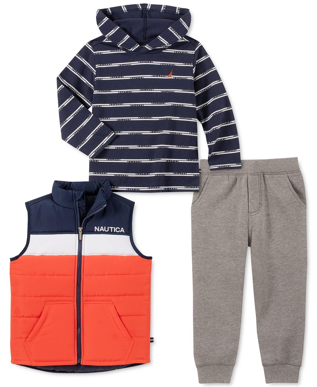 男孩色块背心连帽条纹T恤羊毛运动裤套装