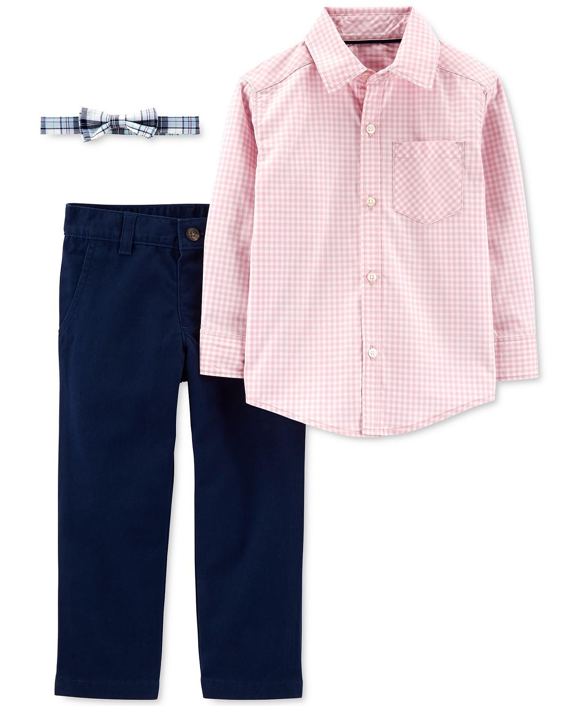 男孩3件套纯棉方格衬衫纯色裤子和格子领带